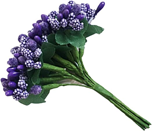 Amosfun 12pcs Mini Baies Artificielles Pistil Fleur Artificiel /Étamine pour Fleur Artisanat Bricolage D/écoration Mariage Floraux Bouquet de Fleurs Arrangement Or