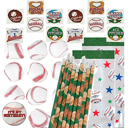 Baseball Party Favors for 12 - Baseball Soft Stuff Balls (12), Baseball Pencils (12), Baseball Tattoos (72), Baseball Theme Favor Gift Bags and a Happy Birthday Sticker ()
