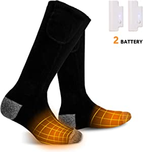 LANOVAGEAR Electric Heated Socks for Men Women Rechargeable 3.7V 2200mAh Battery Powered, 3 Heating Settings Thermal Sock,Winter Outdoor Sport Driving Camping Riding Hunting Skiing Warm Winter Socks