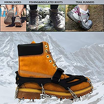 Ice Climbing and Hiking on Snow Traction Cleats with 18 Spikes for Walking Gold Armour Traction Cleats Ice Snow Grips Jogging Sand and Wet Grass Mud