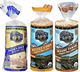 Lundberg Gluten-Free Vegan Non-GMO Rice Cakes 3 Flavor Variety Bundle: (1) Brown Lightly Salted, (1) Organic Kettle Corn, and (1) Organic Sesame Tamari, 9.5 Oz. Ea. (3 Total)