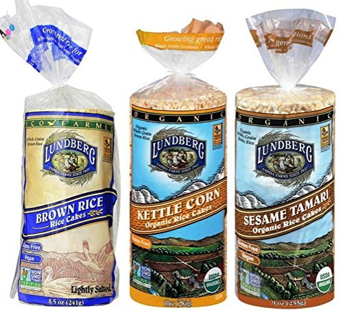Lundberg Gluten-Free Vegan Non-GMO Rice Cakes 3 Flavor Variety Bundle: (1) Brown Lightly Salted, (1) Organic Kettle Corn, and (1) Organic Sesame Tamari, 9.5 Oz. Ea. (3 Total)