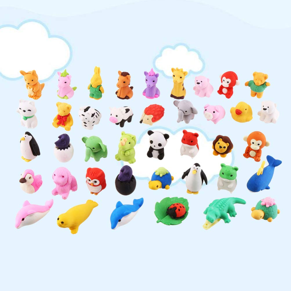 Random Colors and Patterns NUOBESTY NUOBESTY Pencil Erasers Puzzle Eraser Toys Collectible Animal Erasers Novelty Classroom Rewards for Party Games Prizes Carnivals School Supplies 32 Pcs