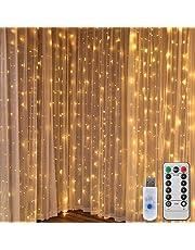 LEDGLE Rideau Lumineux 300 LEDs 3x3 Mètres avec Crochet Guirlande Lumineuse LED 8 Modes IP65 pour Décoration Extérieur Intérieur, Fêtes, Mariage, Jardin, Chambre- Blanc Chaud 3000K