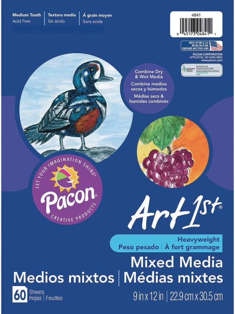 60 Sheets Pacon PAC4841 Art1st Mixed Media Art Paper 9 x 12 White