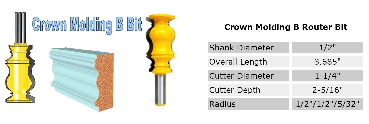 1 PC 1//2 SH 2-5//16 Long Crown Molding A Router Bit sct-888