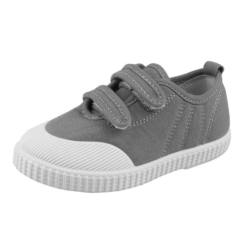 Boys' Girls' School Shoe Kids Lightweight Canvas Casual Low Top Sneakers Slip-On Loafers, Gray 7.5 M