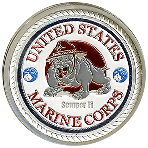 United States Marine Corps Silver Poker Card Guard by Vegas Gaming Supplies