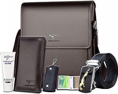 TIANHONGDAISHU Men's Genuine Leather Messenger Bag Retro Small Crossbody Shoulder Bag for Men Business Flap Over Man Satchel (6581-2 large brown+6)