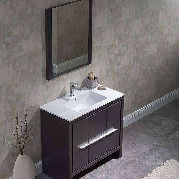 36 Inches All Wood Silver Grey Single Bathroom Vanity