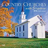 Country Churches with Scripture 2018 12 x 12 Inch Monthly Square Wall Calendar, USA United States of America