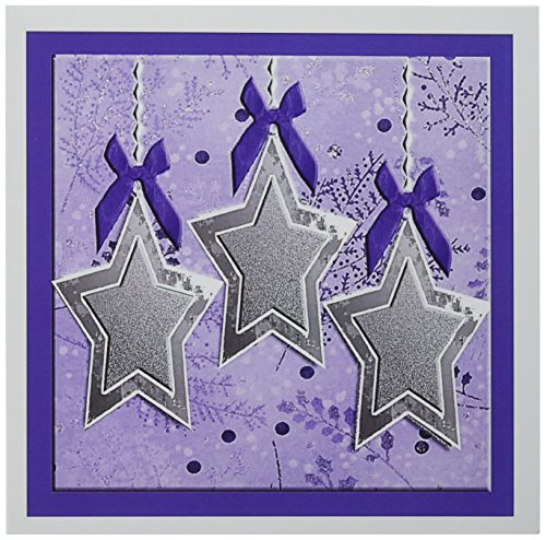 3d Rose 3dRose Silver Stars with Bows Purple - Greeting C...