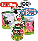 Schylling Classic Animal Sound Noise Maker Tins Complete Party Set Bundle - 4 Pack