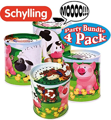 Schylling Classic Animal Sound Noise Maker Tins Complete Party Set Bundle - 4 Pack by Schylling
