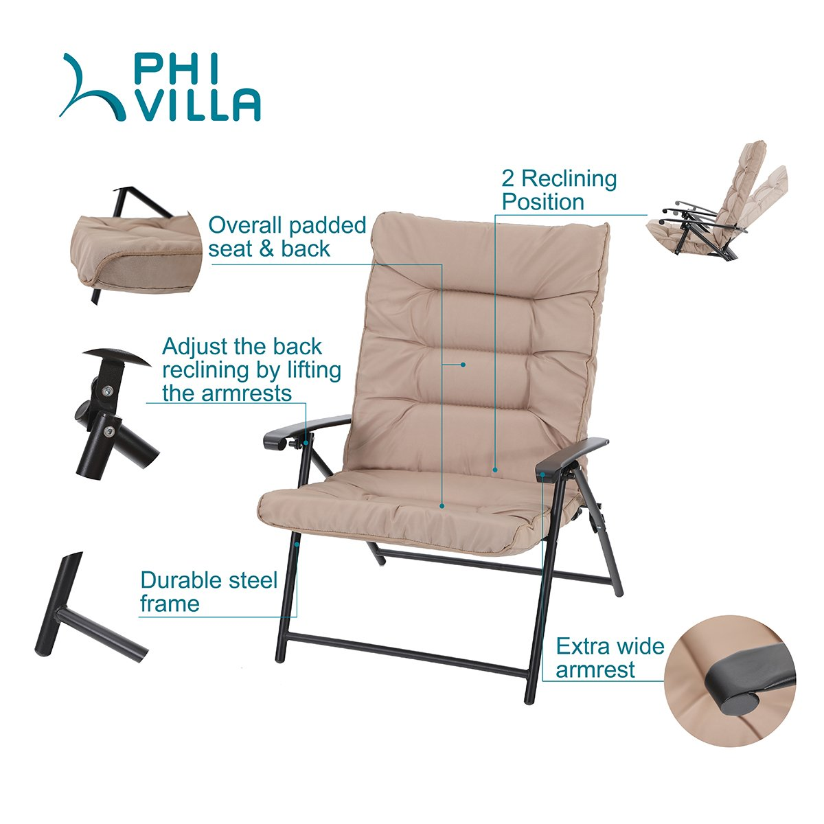PHI VILLA Patio 3 PC Padded Folding Chair Set Adjustable Reclining 2 Position, Beige by PHI VILLA (Image #3)