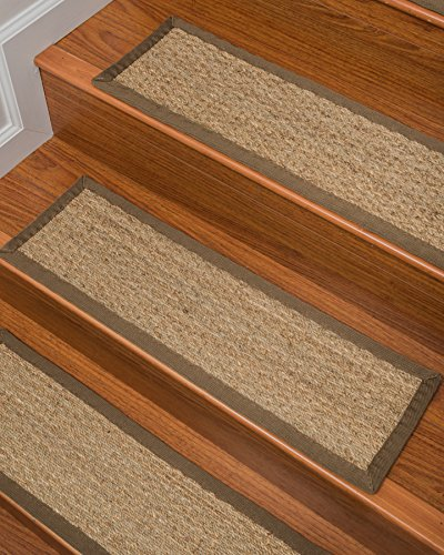 Peace Sisal Rug (NaturalAreaRugs Half Panama Seagrass Carpet Stair Treads, Handmade, Durable, Stain Resistant, Anti-Static, Set Of 13 9'' x 29'')