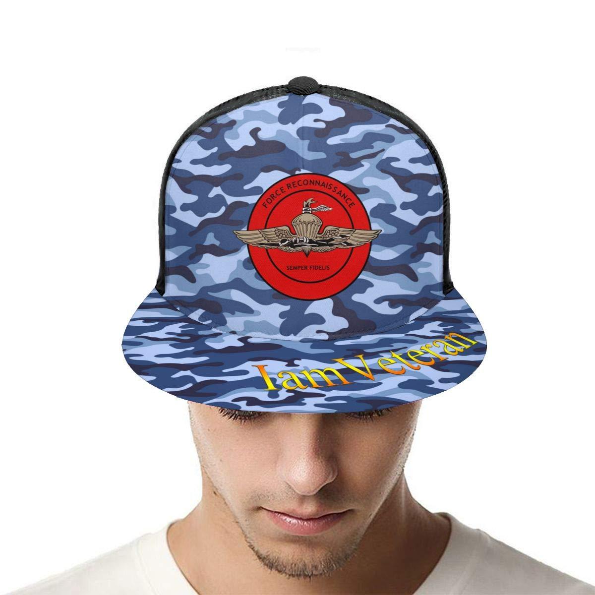 US Marine Corps Force Reconnaissance Classic Grid Caps Flat Along Baseball Hats Snapback Men Women Hats Adjustable