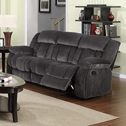 Amazon.com: Sunset Trading Reclining Sofa in Charcoal Blue ...