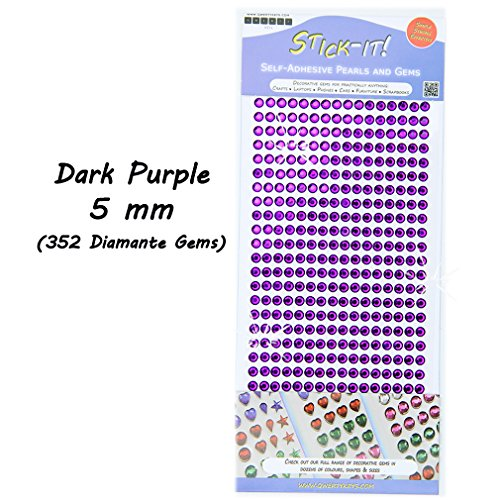 Dark Purple Rhinestone (Rhinestone Sticky Stick On Self Adhesive Silver Diamante Coloured Crystal Gems - Dark Purple 5 mm (352 Gems))