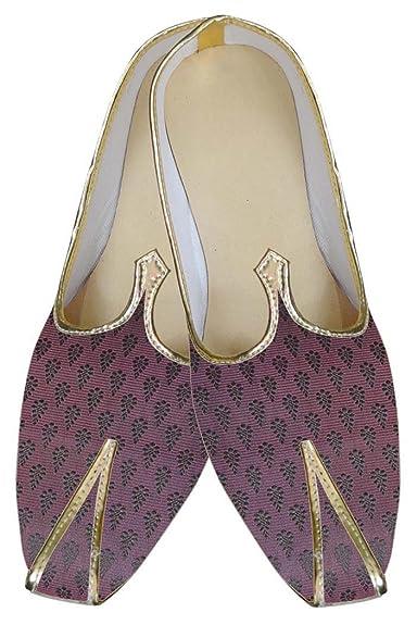 Mens Magenta Brocade Wedding Shoes MJ0084