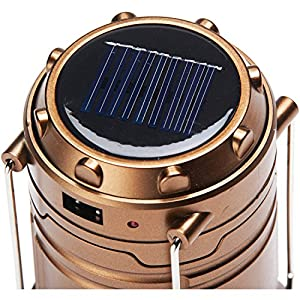Survival Ultra Bright 100-Lumen Camping LED Lantern with Solar Power and USB Port Phone Charger, 2-PACK Plus Insect Repellent, BRONZE