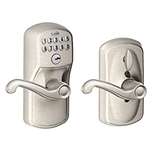 Schlage FE595 PLY 619 FLA Plymouth Keypad Entry with Flex-Lock and Flair Style Levers, Satin Nickel