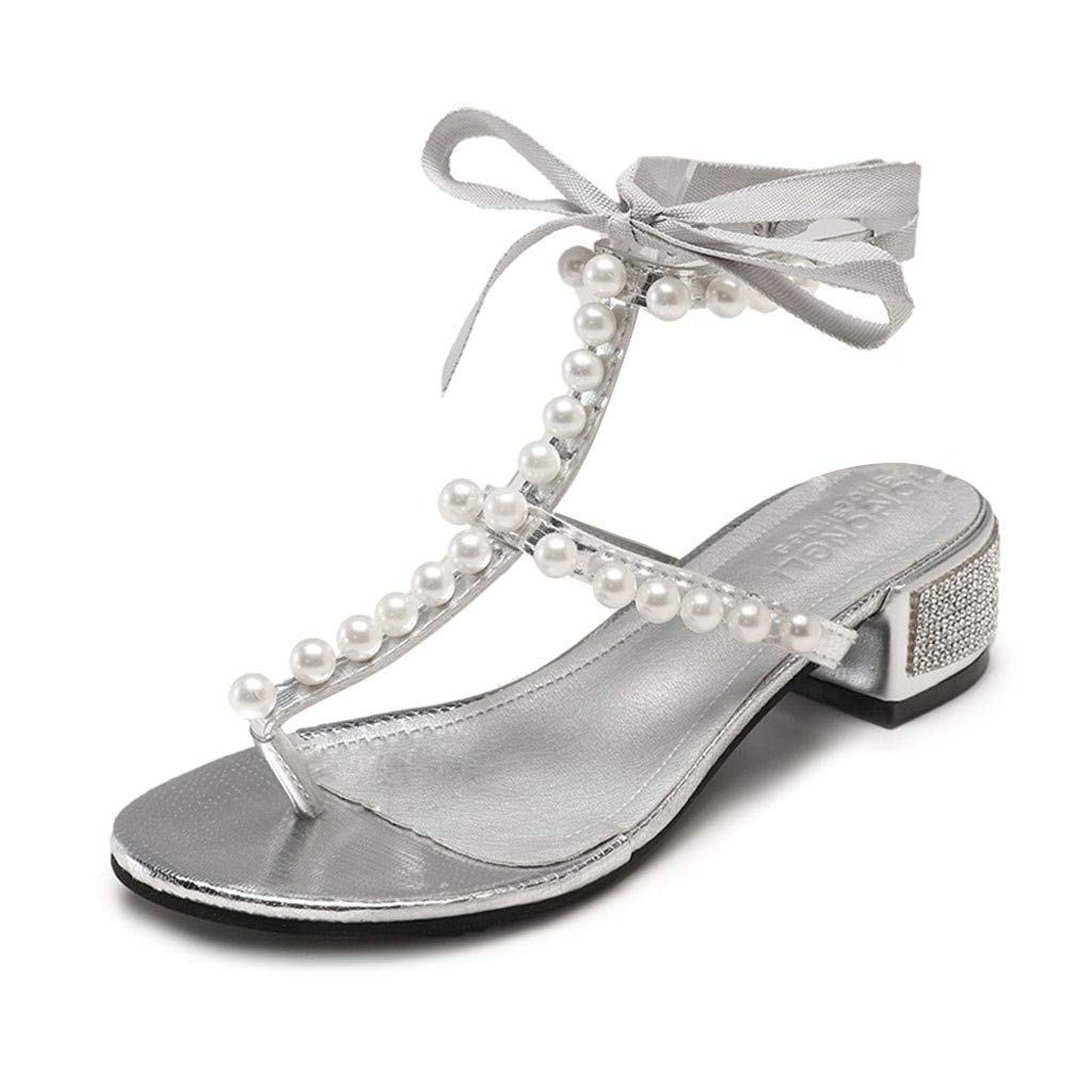 Moonker Women Summer Flat Sandals Wide Width Shoes Ladies Fashion Lace-Up Pearl Rhinestone Clip Toe Sandals