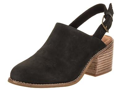 6c56d5644d4 TOMS Women s Leila Slingback Black Leather 5.5 ...