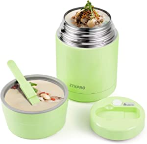 Insulated Lunch Container Thermos Food Jar for Hot Food Wide Mouth 27 oz with Folding Spoon & Handle Food Storage Soup Container ZTXPRO Leak Proof for Kids School Picnic Office Outdoors– Green