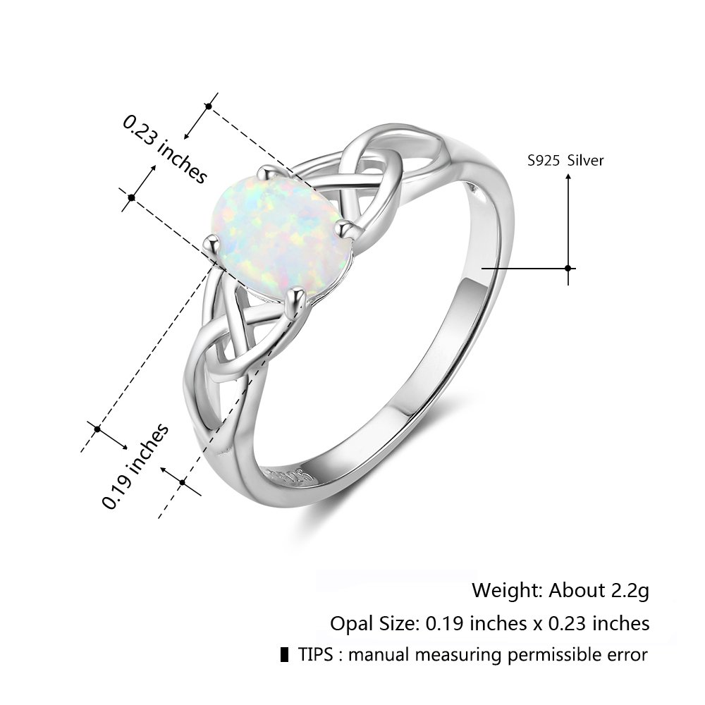 Furious Jewelry 925 Sterling Silver Oval Created Opal Trinity Celtic Knot Band Ring, Size 6 7 8 (7) by Furious Jewelry (Image #3)
