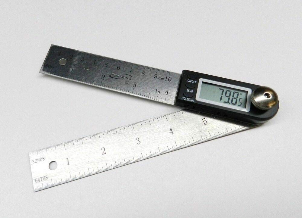 (35-407) iGAGING Digital Protractor with 7'' and 4'' Stainless Steel Blade