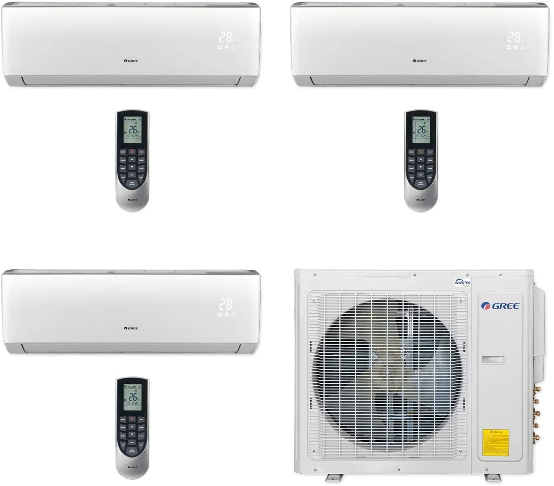 Gree MULTI30CVIR303-30,000 BTU Multi21+ Tri-Zone Wall Mount Mini Split Air Conditioner Heat Pump 208-230V (9-9-24)
