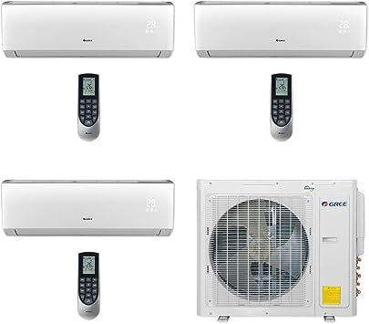 Amazon Com Gree Multi30cvir301 30 000 Btu Multi21 Tri Zone Wall Mount Mini Split Air Conditioner Heat Pump 208 230v 9 9 12 Home Kitchen