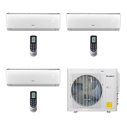 Gree MULTI30CVIR301-30,000 BTU Multi21+ Tri-Zone Wall Mount Mini Split Air  Conditioner Heat Pump 208-230V (9-9-12)