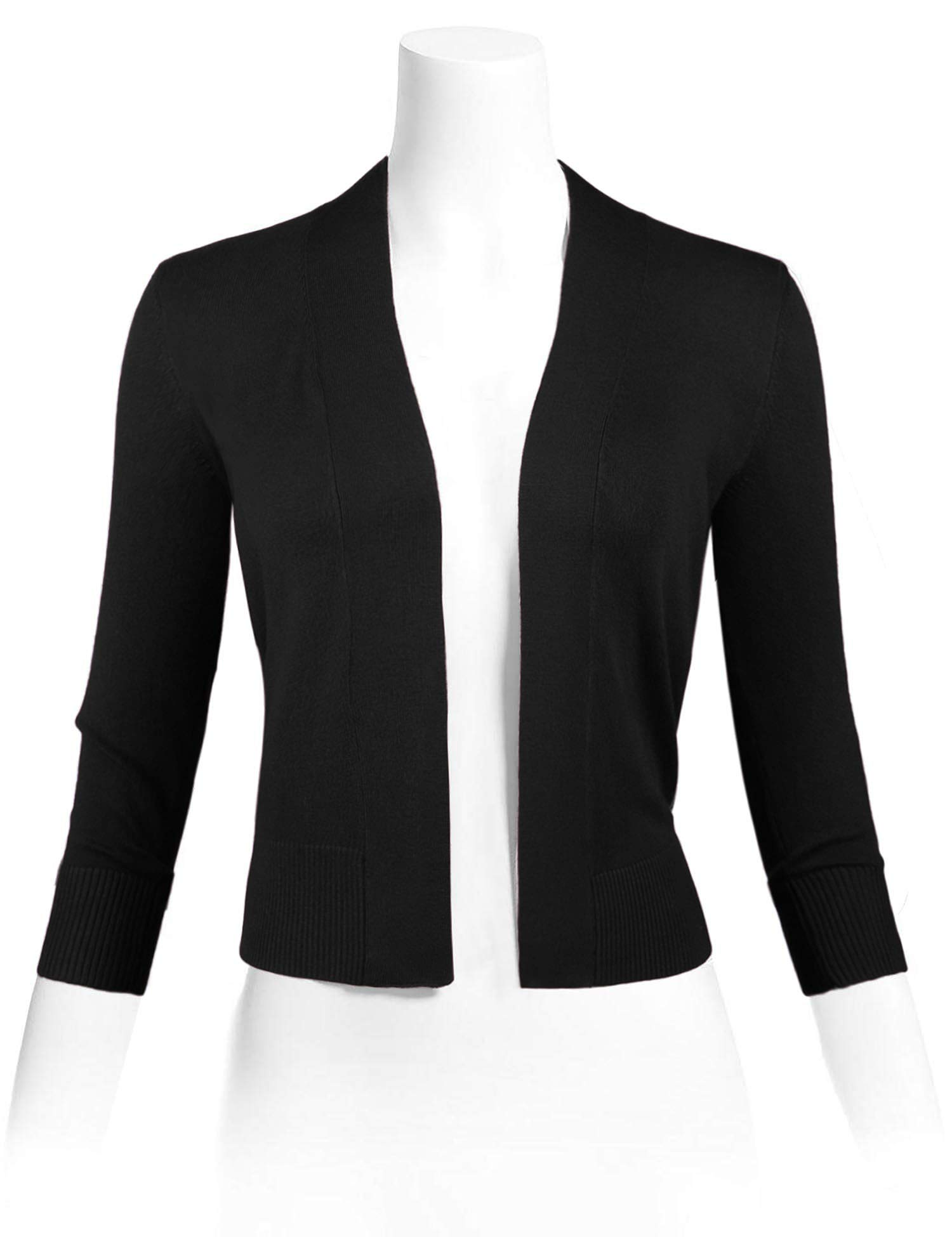 Sarin Mathews Womens 3/4 Sleeve Open Front Cropped Short Knit Cardigan Sweaters Black M