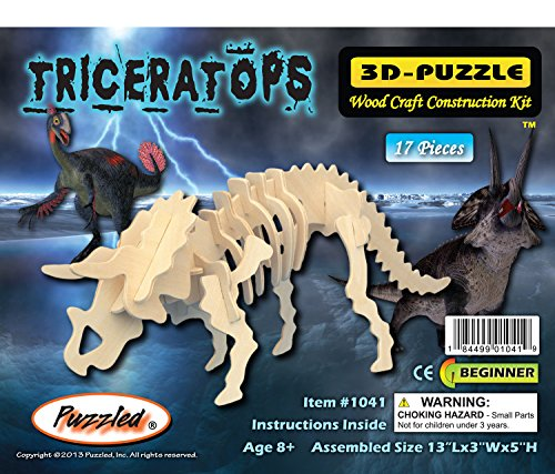 (Puzzled Triceratops 3D Natural Wood Puzzle)
