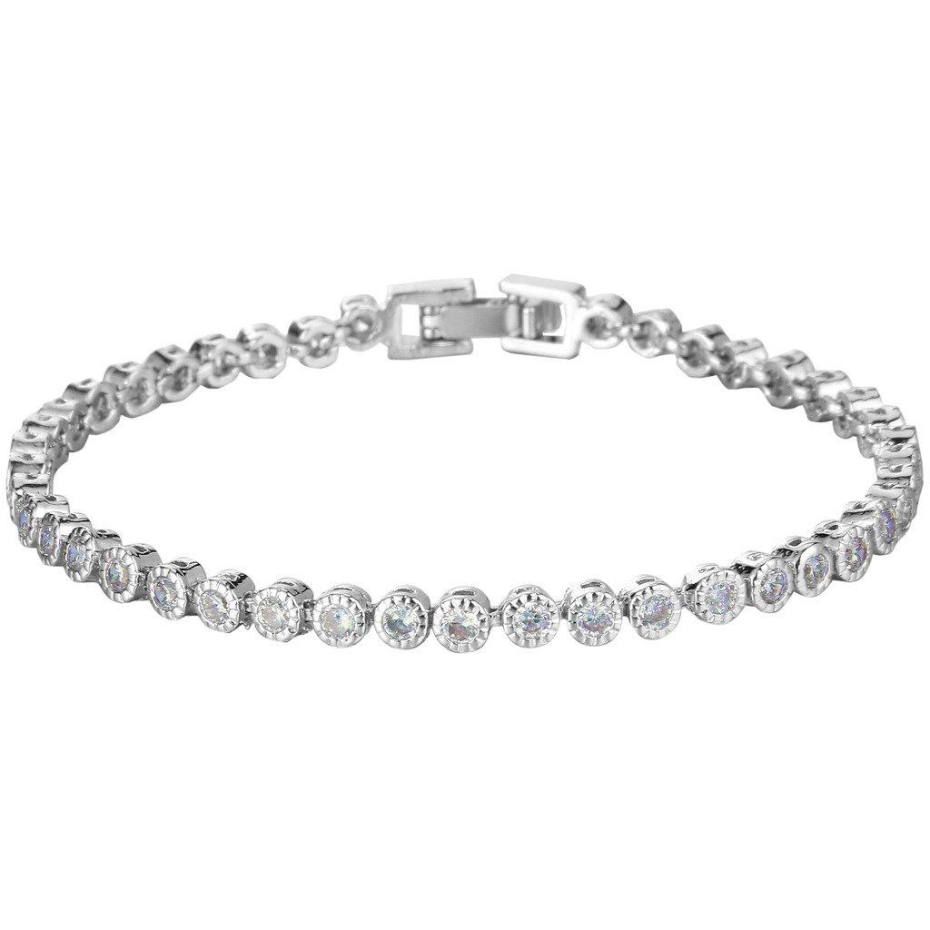 Ever Faith Silver-Tone Full Cubic Zirconia Circle Round Row Wedding Roman Tennis Bracelet Clear N06578-1