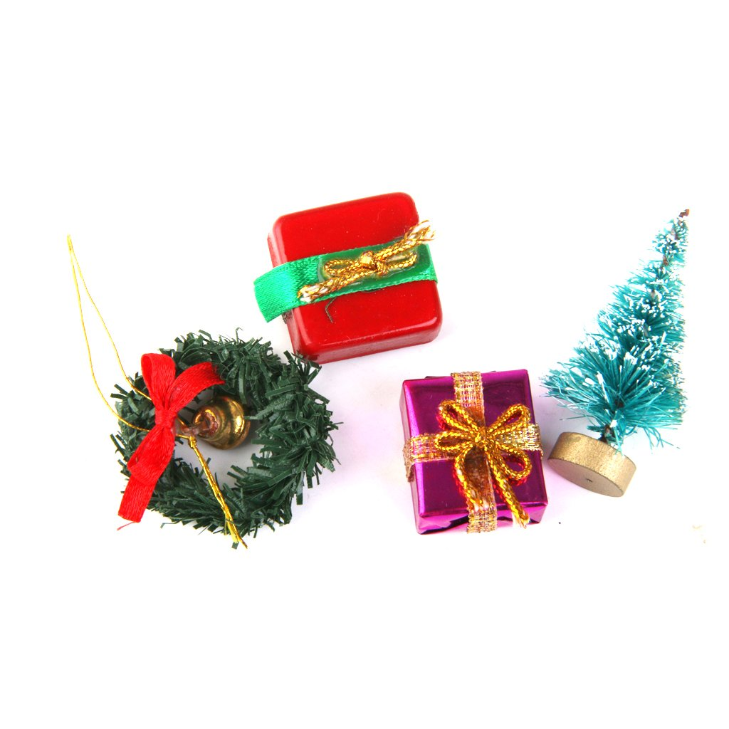 1//12 Dollhouse Christmas Tree Garland Gift Box 4pcs Set