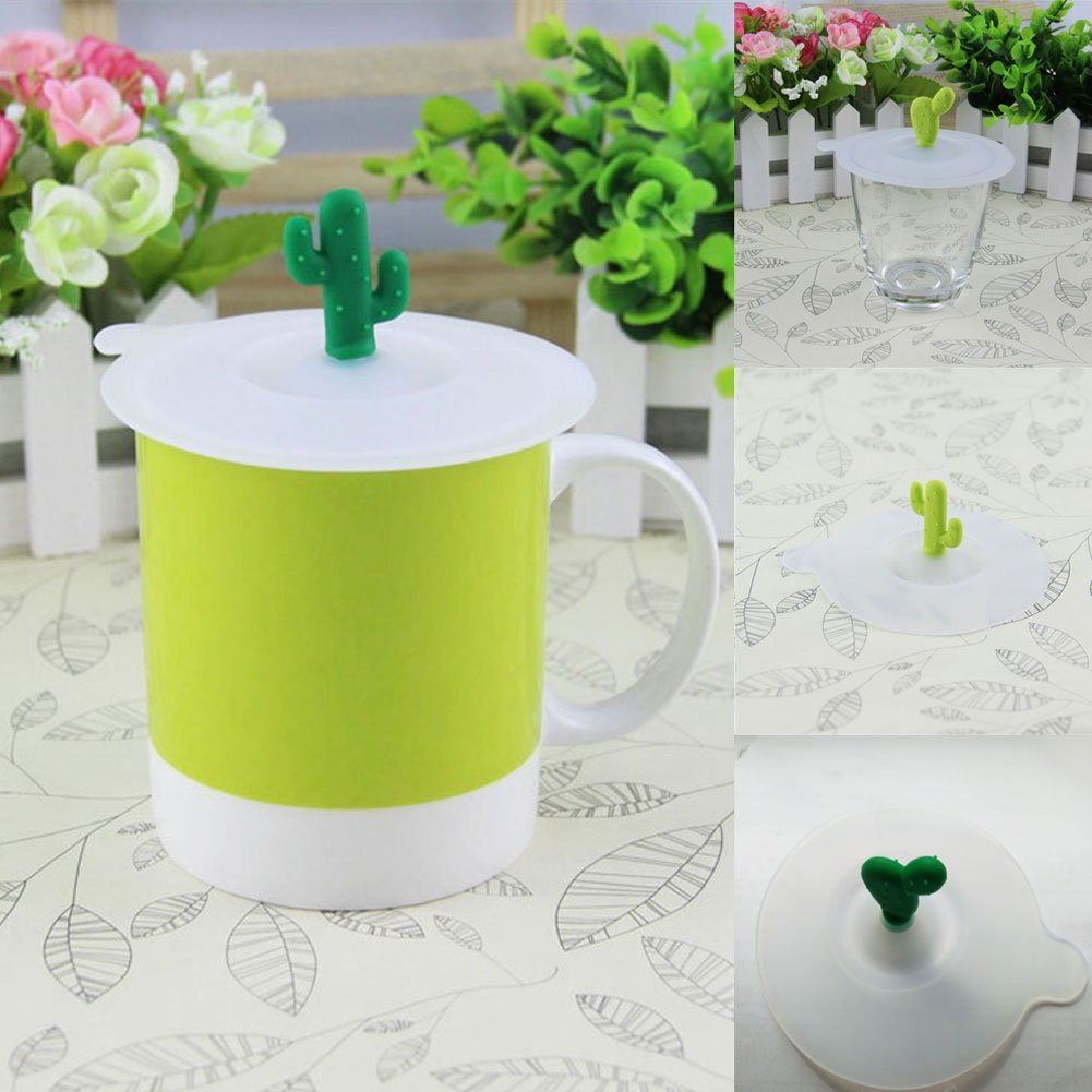 Brave669 Clearance Deals!!1Pc Dustproof Reusable Silicone Cup Coffee Mug Lid Cartoon Cactus Cover Cap Gift by Brave669 (Image #2)