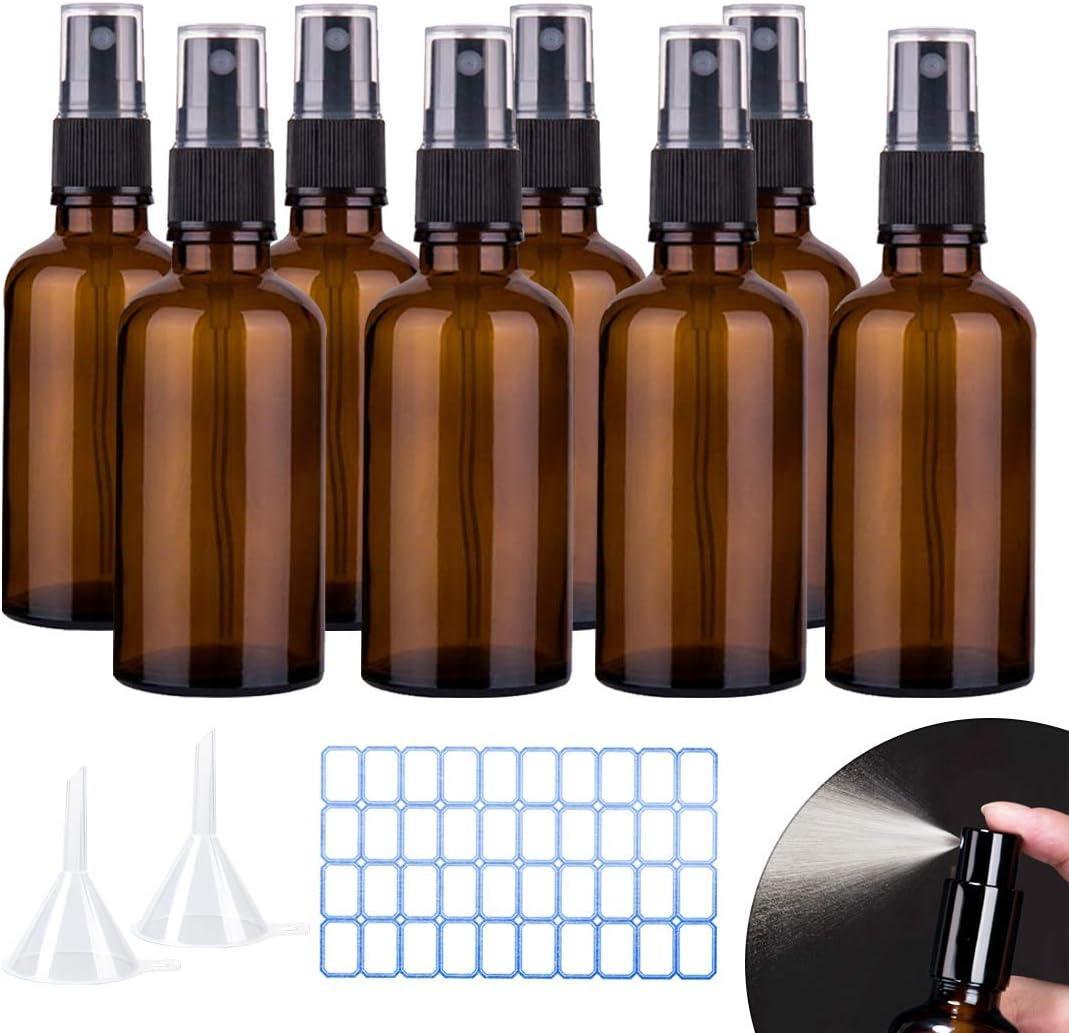 O-Kinee Spray de Vidrio ámbar 8 pcs Botella de Vidrio ámbar Vacía con Pulverizador Negro de Niebla Fina Vacía para Aromaterapia,Primeros Auxilios,Tamaño de Viaje,Líquidos Químicos (100ml)
