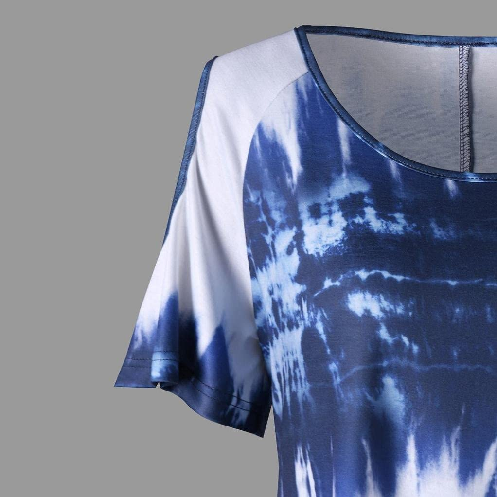 Pandaie Women Tops Fashion Womens Plus Size O-Neck Short Sleeve Print Open Shoulder T-Shirt Tops