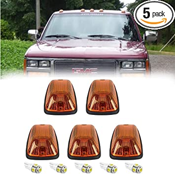 Amazon Com 5pcs Amber Cab Maker Roof Running Clearance Light Cover White T10 5050 Led Light Bulbs Replacement For 1988 2002 Gmc Chevy C1500 C2500 C3500 K1500 K2500 K3500 Pickup Amber Cover