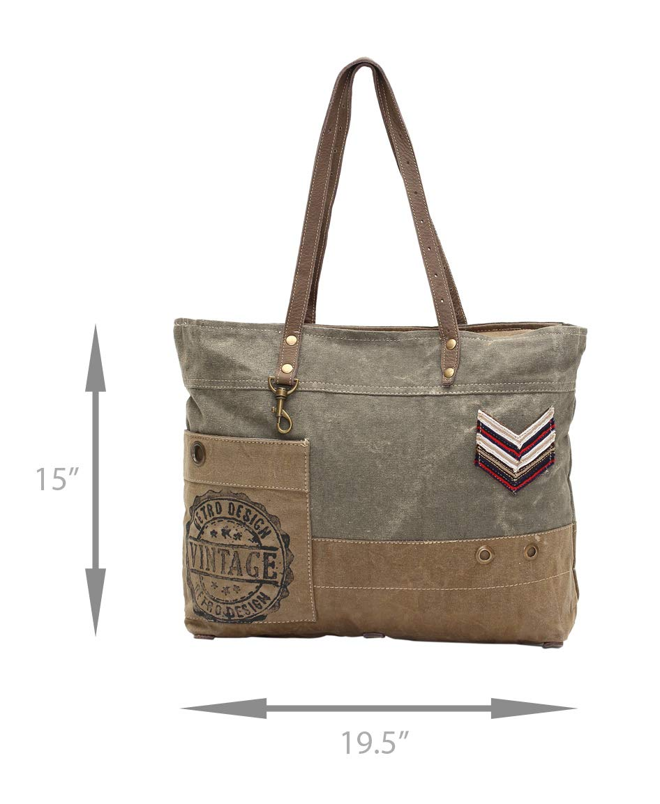 Myra Bags Military Badge Upcycled Canvas Tote Bag S-0934