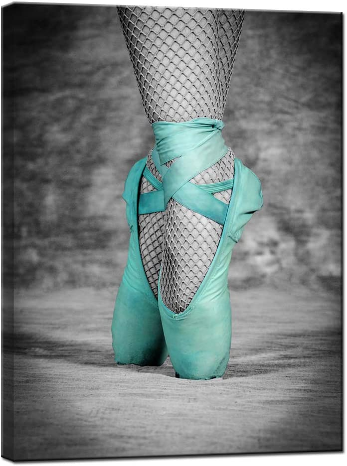 LevvArts Modern grey and teal wall art elegant Ballet Shoes Picture on Stretched Canvas Ballerina Poster for Girls Room Decor Ready to Hang