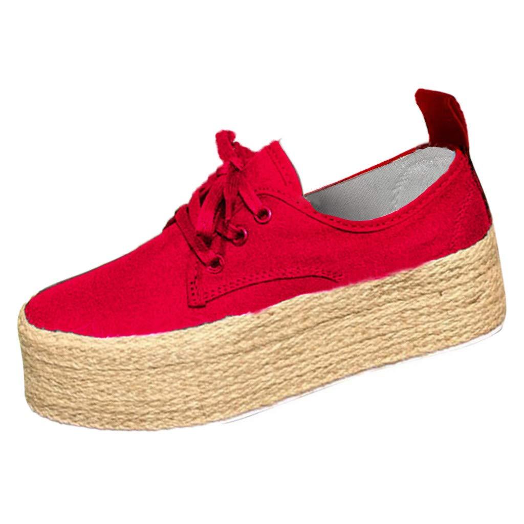 Espadrilles Femme Plateforme,Overdose Automne Hiver Basket en Toile Femmes /à Lacets Grande Taille Chaussures /à Talons Plat Sneakers Slip on Sportswear Blanche Noir Rouge