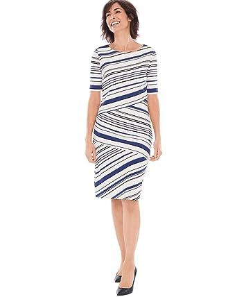 721ef14ccdb Chico s Women s Striped Ponte Dress Size 8 M (1) Blue White at ...