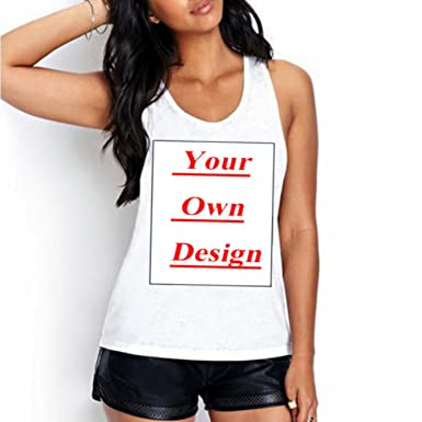 04761d2b3d Image Unavailable. Image not available for. Color: Unique Customized  Women39;s Tanks Print Your Own Design Casual Tops girl tees animal cartoon