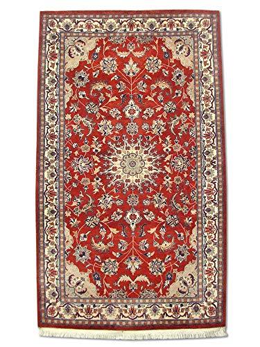 Traditional Persian Handmade Kashan Rug, Wool, Burgundy/Red, 3' 2