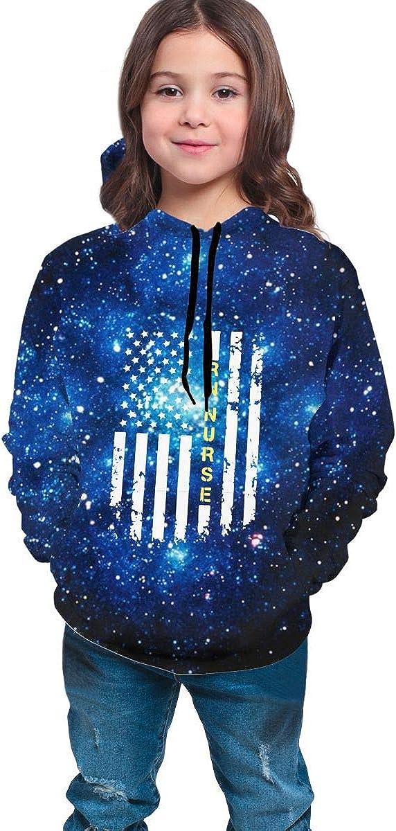 MAOYI/&J6 Rn Nurse American Flag Youth Boys Girls Long Sleeve Hoodie Sweaters for Winter Sweatshirt