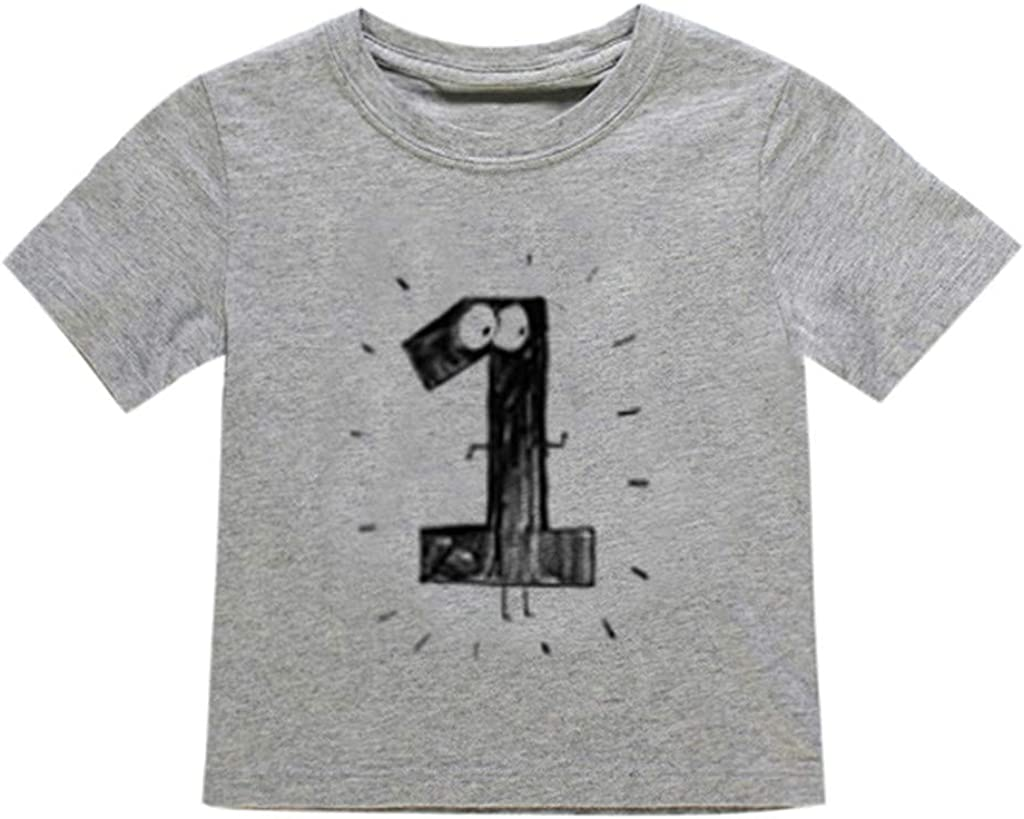 Julhold Newborn Baby Kids Boy Girl Leisure Number Cartoon Casual Cotton Short Sleeve T-Shirt Tee Tops Clothes 1-6 Years